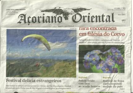 Açoriano Oriental page de couverture 22082014